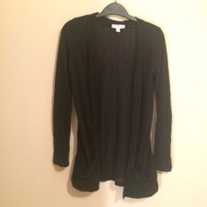 Black open front sweater